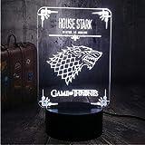 Xiaoaigehouse Stark Game Of Thrones Una Canción De Hielo Y Fuego Wolf 3D Led Night Light Party Decoración Del Dormitorio Fans Regalo De Navidad