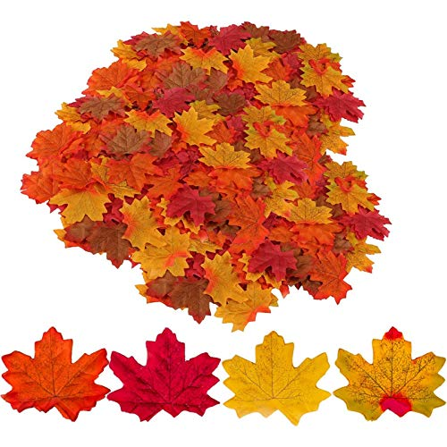 GiBot 400 Pcs Assorted Colored Maple Leaf Artificial Fall Autumn Art Maple Leaves Table Scatters Decor for Halloween,Thanksgiving Day,Weddings,Home,Indoor and Outdoor Decorating, 4 Colors
