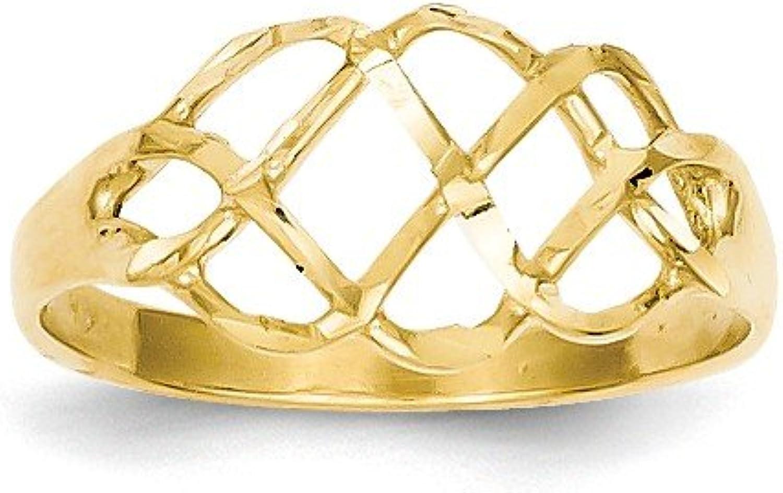 Beautiful Yellow gold 14K Yellowgold 14k Polished & DiamondCut Fancy Ring