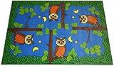 Carpet for Kids Kinderteppich Spielteppich Eulen bei Nacht Eulenteppich Velours blau 140 x 200 cm