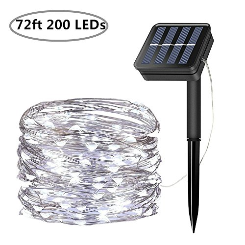 LiyuanQ Solar String Lights, 200 LED Solar Fairy Lights 72 Feet 8 Modes Silver Wire Lights Waterproof Outdoor String Lights for Garden Patio Gate Yard Party Wedding Indoor Bedroom - Cool White