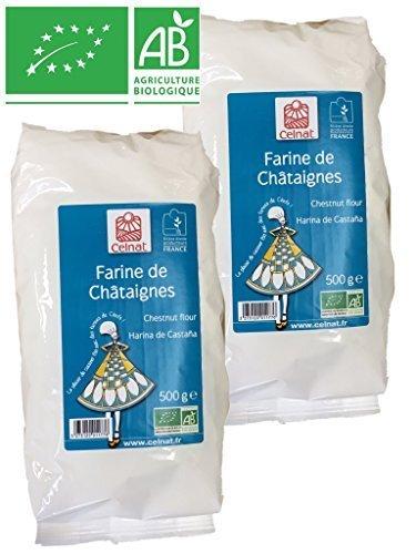 Celnat Farine de châtaignes BIO producteurs France - Lot de 2 Paquets de 500g
