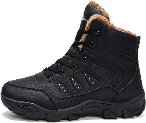 Hiver Bottes de Neige Hommes imperméables à Pied de randonnée de Fourrure de Sport Chaussures en Plein air Noir Brun
