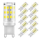 Eterbiz Ampoule G9 LED, 5W Equivalent 50W G9 Halogène, 500LM, Blanc Froid 6000K, Sans Scintillement, AC220-240V, NON-Dimmable, Lot de 10