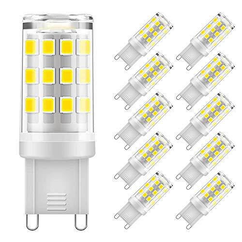 Eterbiz G9 LED Lampen 5W, 500LM kaltweiss 6000K, Kein Flackern G9 LED Leuchtmittel Ersatz 40W G9 Halogenlampe, 360° Abstrahlwinkel, nicht dimmbar, 10er