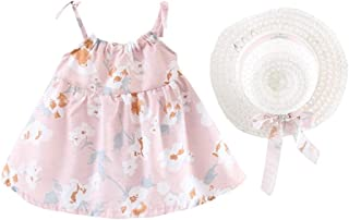 Fairy baby 2Pcs Infant Baby Girls Summer Dress Floral Sundress Sling Beach Outfit+Hat Set