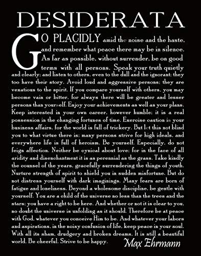 Desiderata Gedicht Desiderata Druck Desiderata Poster Poesie Wandkunst Abschlussgeschenk Abschlussgedicht Student Gedicht Geschenk von Max Erhmann 1927 (83 x 11,7 (A4), schwarz)