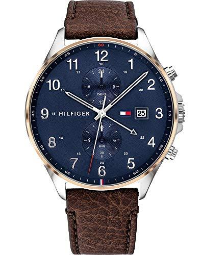 Tommy Hilfiger Herren Analoger Quarz Uhr mit Leder Armband 1791712
