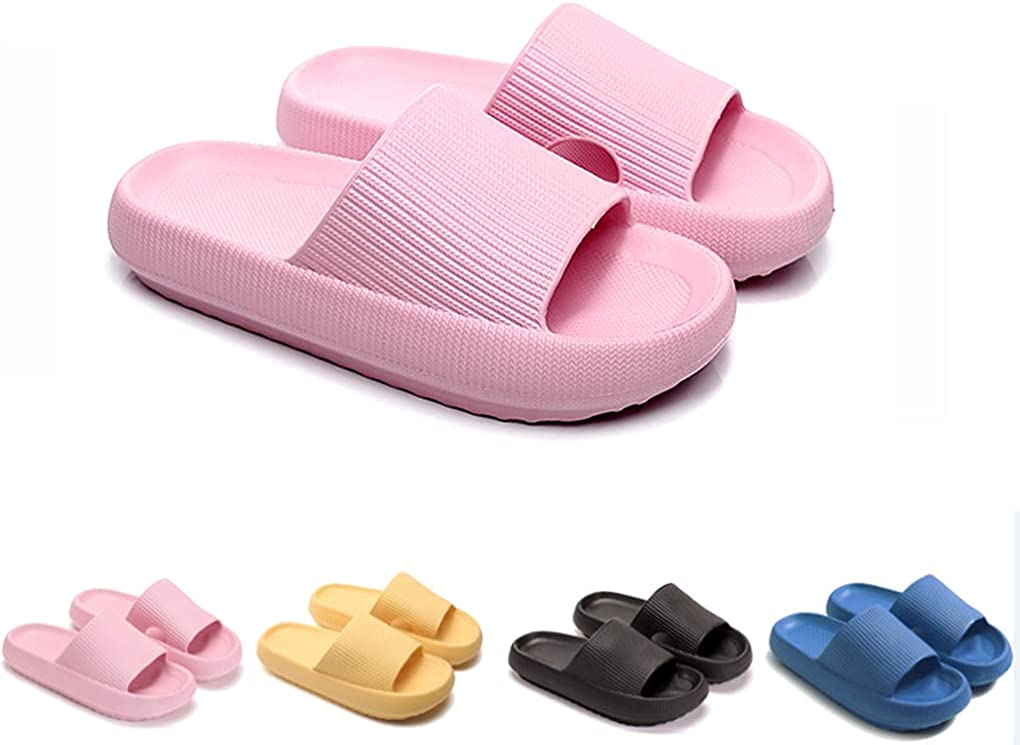 Pillow Slides Slippers Latest Technology - Ultra-Soft Slippers Extra Soft Cloud Shoes Anti-Slip (Pink, 9-10)