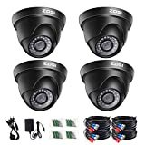 ZOSI 4 Pack 2.0 Megapixel HD 1080P 1920TVL HD-TVI Indoor Outdoor Dome Security Surveillance CCTV Camera Kit for 720P / 1080N / 1080P/5MP/4K HD-TVI, AHD, CVI Analog DVR