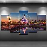 Decoración para el hogar Impresiones en HD Imagen del cartel 5 piezas Parque de atracciones Castillo Noche Arte de la pared Pintura en lienzo para sala de estar 30x40 30x60 30x80cm Sin marco