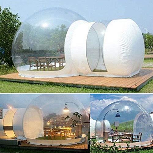 KUYT Casa Inflable de La Tienda de La Burbuja con Transparente Panorama de 360 ° Cúpula y 2 m túnel Adecuado para Acampar al Aire Libre Patio Trasero, Gratis Eléctrico Inflador