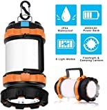 LED Camping Lantern Rechargeable, Brightest Flashlight with 800 Lumens, 4 Lighting Modes, 4000mAh