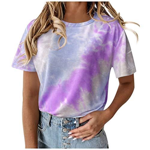 Camiseta Mujer, Tie-Dye Manga Corta Verano Moda Talla Grande Blusas impresión Camisa Suelto Cuello Redondo Basica Camiseta Tops Casual Vestido Fiesta T-Shirt Original tee