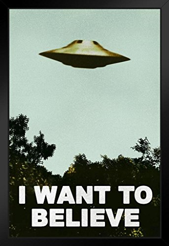 I Want to Believe Poster UFO Artwork Alien TV Retro 90s Poster Wall Decor Movie Poster The Truth is Out There I Believe Poster All Seasons Horror Movie Black Wood Framed Art Poster 14x20