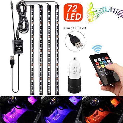 【2019 último modelo】Luz Coche Interior, 72 Led Iluminación Interior Impermeable, El Color del LED cambia con la Música, 12V El Encendedor del Cigarro del Cargador del USB Incluido
