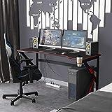 sogesfurniture Gaming Tisch 160 x 60cm Schreibtisch Großer Computertisch Arbeitstisch mit Mausunterlage, Getränkehalter, Kopfhörerhaken, Kabelmanagement, Schwarz BHEU-LJ-1909-160all
