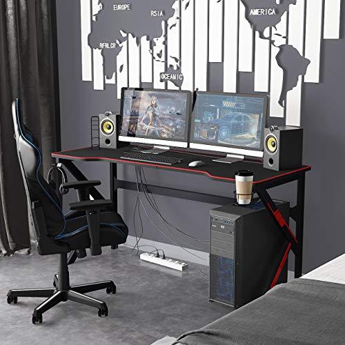 sogesfurniture Mesa de Juegos para PC 160 x 60cm Mesa Escritorio Grande para Computadora con Portavasos y Gancho para Auriculares, Alfombrilla de ratón para Gaming, Negro BHEU-LJ-1909-160all