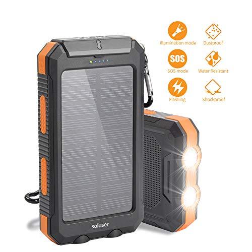 Soluser Cargador Solar Portátil con 10000mAh, Batería Externa 2 Puertos de USB...