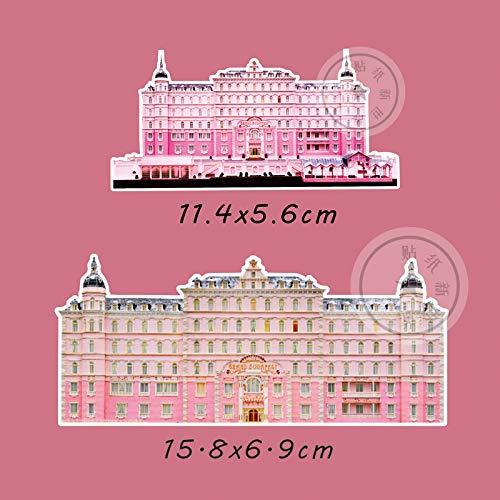YCYY Budapest Grand Hotel Pegatina para Equipaje Impermeable Ins Pegatina Completa Personalidad Creativa literaria Impermeable Marca de Marea Grande
