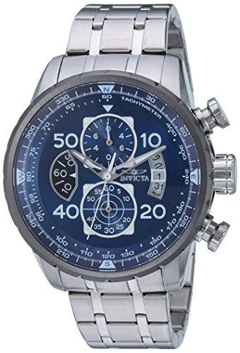 Invicta Relógio Masculino Aviator 48 mm de Aço Inoxidável Cronógrafo Quartzo, Prata (Modelo: 22970)