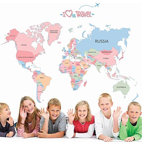 Etiqueta De La Pared Colorido Mapa Del Mundo Pegatinas Mapa Calcomanías De Pared Para Habitación De Niños Diy Vinilo Decoración Del Hogar Decoraciones De Dormitorio 130 * 90 Cm
