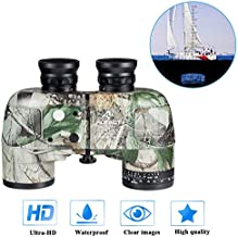 HUTACT Military Binoculars 10x50, with Rangefinder & Compass Direction, PORRO Prism for Adults Hunting, Rangefinding Binoculars for Marine, Fishing, Bird Watching; with Carrying Bag, Harness Strap