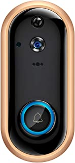 SDETER Video Doorbell 1080P Wireless Home Security Surveillance Rechargeable Battery Camera with Cloud Storage Motion Detection Night Vision Two-Way Audio Android iOS Real-time Video (Gold)