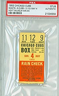 1952 Chicago Cubs Ticket Stub vs New York Giants Hoyt Wilhelm Win #3 - May