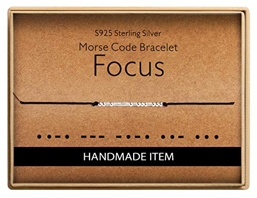 Birthday Gifts for Friends Morse Code Focus Bracelet 925 Sterling Silver Handmade Bead Adjustable String Bracelets Inspirational Jewelry for Women
