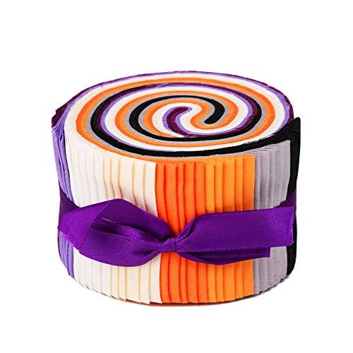 Wamkon Rollos de tela Jelly Rolls de 8 colores (40 unidades), 6,2 x 100 cm de algodón Craft Jelly Rolls Up, flores de gelatina de algodón, para patchwork, costura, manualidades