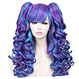 ColorGround Long Curly Cosplay Wig with 2 Ponytails(Blue/Purple)