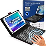 Cooper Touchpad Executive [Multi-Touch Mouse Keyboard] case for 9-10.5' Tablets | Universal Fit | iPadOS, Android, Windows | Bluetooth, Leather (Purple)