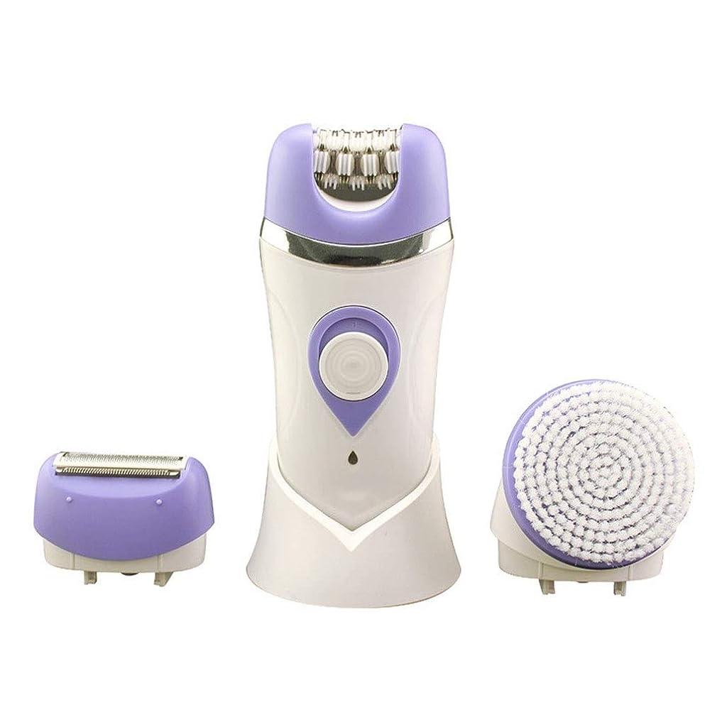 リファイン差し引くサルベージ女性用電気かみそり、女性用充電式防水脱毛器3 in 1多機能は、足と体から余分な髪を取り除きます (Color : Purple)