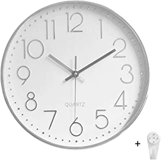 ocharzy Wall Clock 12 Inch Non-Ticking Silent Quartz Decorative Battery Operated Round Clocks Home Kitchen Office School Clocks (White- Silver)