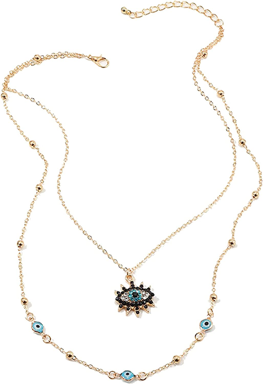 Sttiafay Layered Evil Eye Pendant Necklace Inlaid Rhinestone Charm Necklace Turkish Lucky Choker Necklace Jewelry for Women and Girls