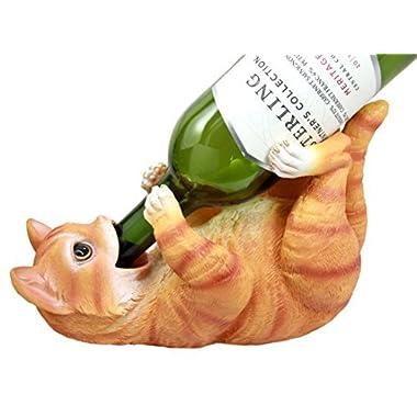 Atlantic Collectibles Feline Orange Tabby Kitty Cat Wine Bottle Holder Caddy Figurine