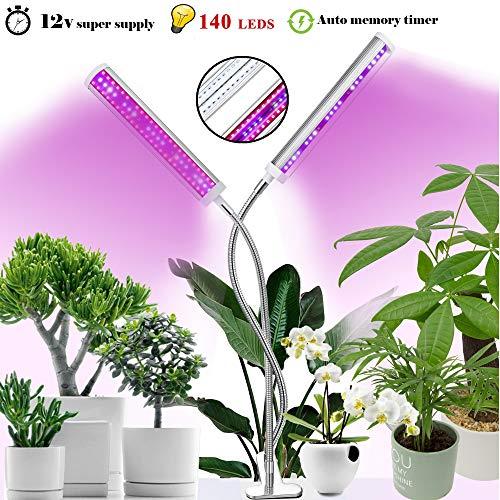 Molipat Pflanzenlampe Pflanzenlicht 60W 140 LED Pflanzenlampe Neueste Version mit Automatische Zeitschaltuhr Wachstumslampe 10 Dimmbare Helligkeiten für Gewächshaus Pflanzen Zimmerpflanzen
