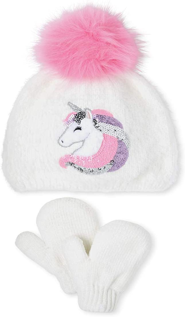 The Children's Place Girls' Toddler Sequin Unicorn Pom Beanie and Mittens Set