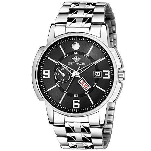 EDDY HAGER Time Teacher - Analogue Men's Watch (Black Dial Silver...