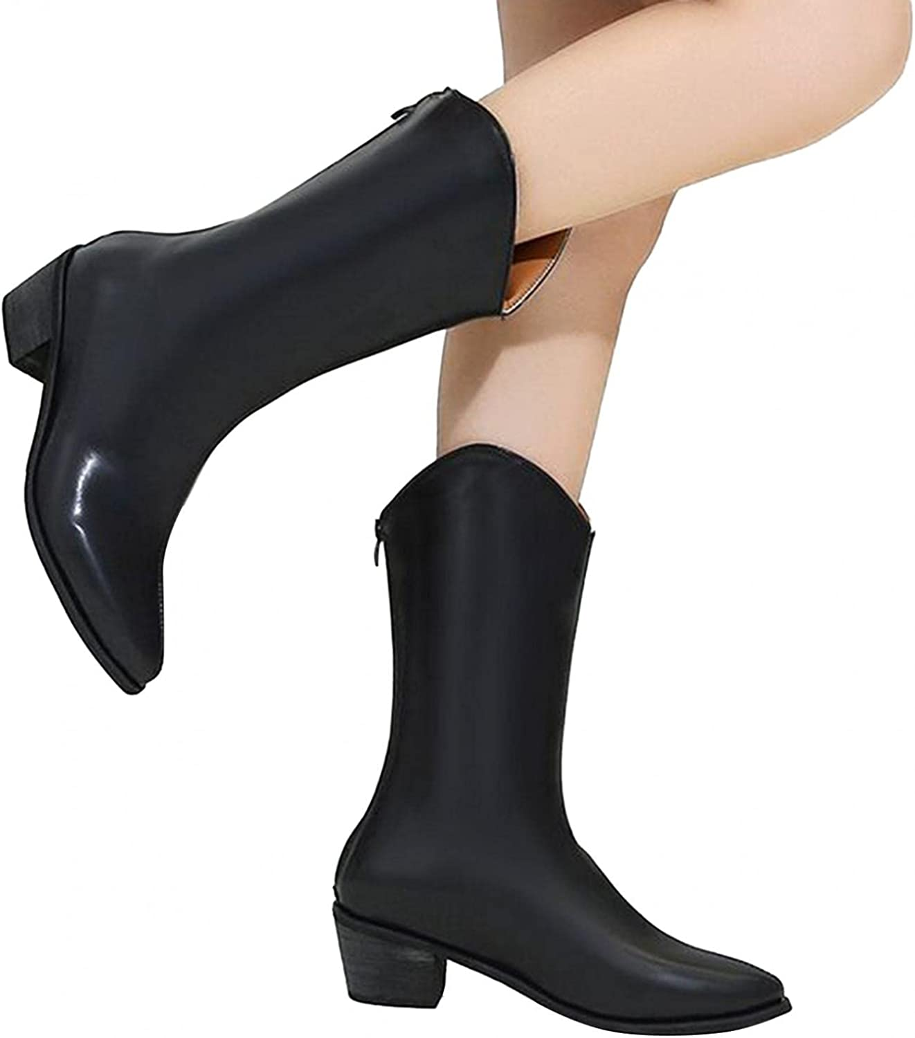Hbeylia Dress Riding Boots For Women Fashion Casual Leather Pointed Toe Chunky Block Mid Heels Mid Calf Dressy Boots With Back Zipper Ladies Wide Calf Short Combat Cowboy Work Boots Party Favor