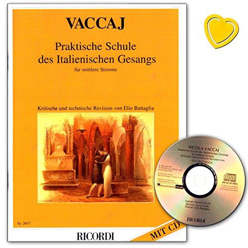 Praktische Schule des italienischen Gesangs für mittlere Stimme - Lehrbuch von Nicola Vaccai mit CD und bunter herzförmiger Notenklammer