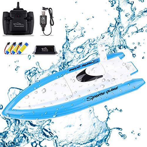 Seamuing Barco Teledirigido, Barcos de Control Remoto Lancha Radiocontrol Electrico de 2.4 GHz con 3 Baterías Recargables para Niño Niña (Azul Lancha RC)