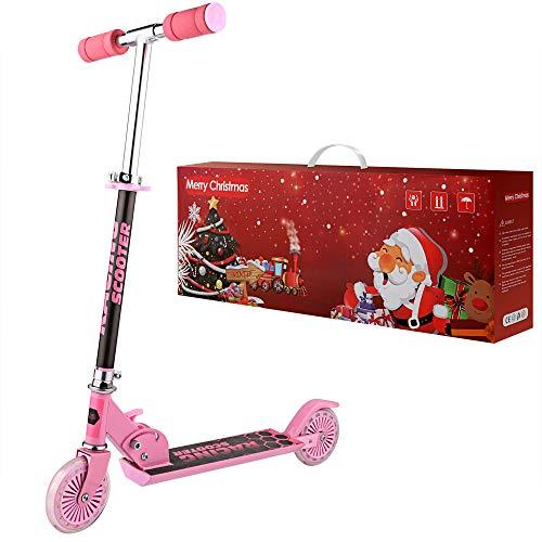 WeSkate Monopattino per Bambini 2 Ruote Kick Scooter da 4 a 12 Anni Monopattino Pieghevole Regolabile per Ragazze e Ragazzi, Carico Massimo 110lb (Pink Gift 1)