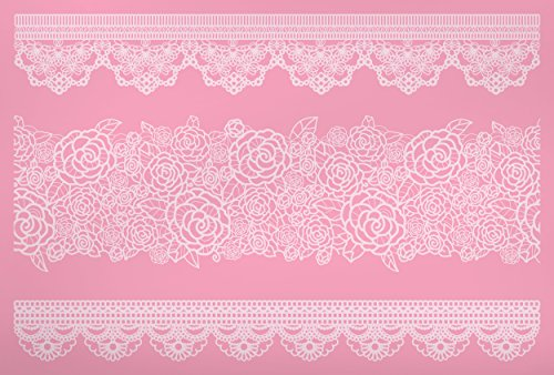 Kitchen Craft Sweetly Does It tamaño Grande 40 x 27 cm de Silicona de Encaje Border Alfombrilla de boquillas para Manga pastelera, Rosa