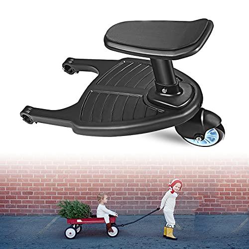 EnweNge Mini Buggy Board, Tablero de Buggy con Asiento Cochecito de Bebé Dos Niños Placa de Pie Sentado Asiento Cochecito Accesorio