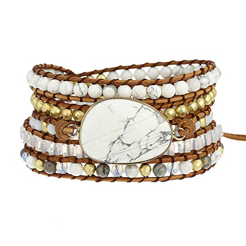 Plumiss Bohemia 5 Wraps Howlite Bracelet Handmade Multilayer Beaded Jewellery For Woman And Girls