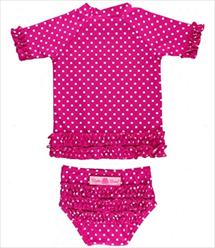 RuffleButts ラッフルバッツ UPF50+ ラッシュガード Polka Dot Ruffled Rash Guard Bikini (3T(95), Berr...