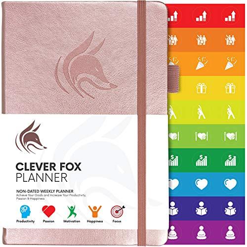 Der Clever Fox Planer - Kalender Notizbuch Organizer Tagebuch zur Steigerung von Produktivität, Motivation, Achtsamkeit, Glück, Erfolg und Zielerreichung, Undatiert, A5 - Roségold