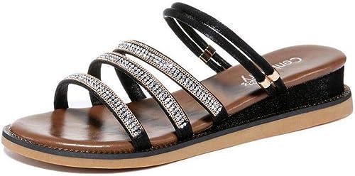 LTN Ltd Ltd Ltd - sandals Sandales de Plage Strass, été Balnéaire, Chaussures de Femmes Simples, Portant des Sandales Et des Pantoufles, Noir, 35 9f2
